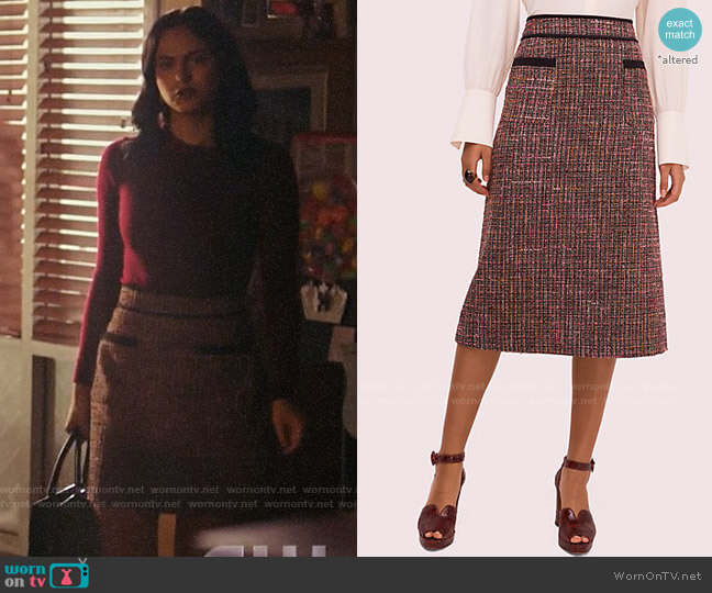 Kate Spade Tweed Midi Skirt worn by Veronica Lodge (Camila Mendes) on Riverdale