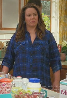 Katie's blue plaid blouse on American Housewife
