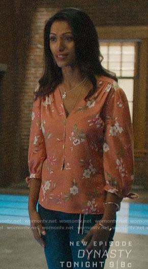 Katrina's coral floral blouse on Charmed