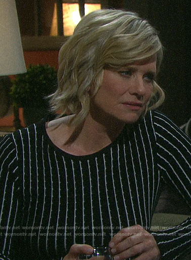 Kayla's black striped long sleeve dress on Days of our Lives