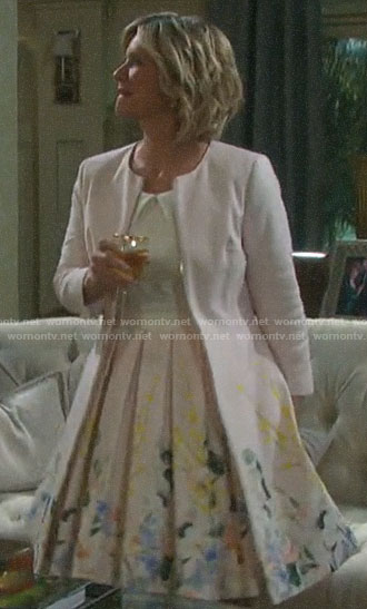 Kayla's floral pleated dress and coat on Days of our Lives