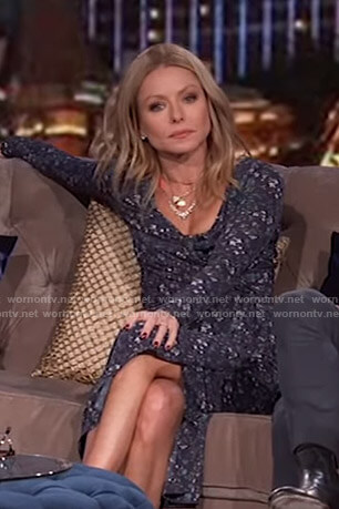 Kelly's navy floral wrap dress on Live with Kelly and Ryan