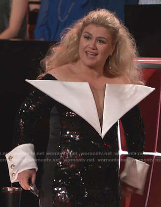 Kelly Clarkson's sequin off-shoulder mini dress on The Voice
