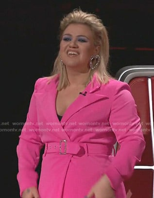 Kelly Clarkson's pink belted blazer dress on The Voice
