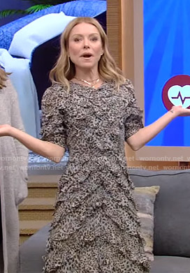 Kelly's leopard print ruffled dress on Live with Kelly and Ryan