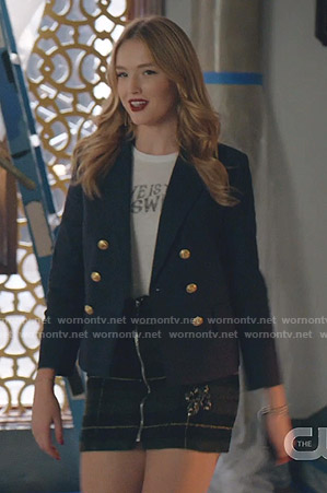 Kirby's navy blazer and plaid skirt on Dynasty