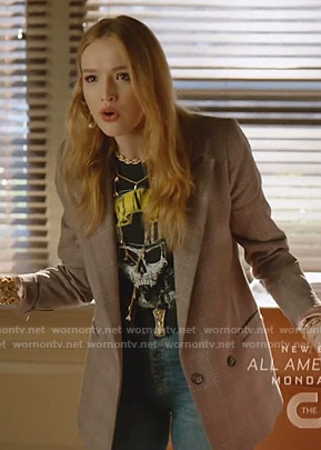 Kirby's skull print tee and plaid blazer on Dynasty