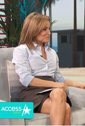 Kit's blue shirt and brown skirt on Access Hollywood