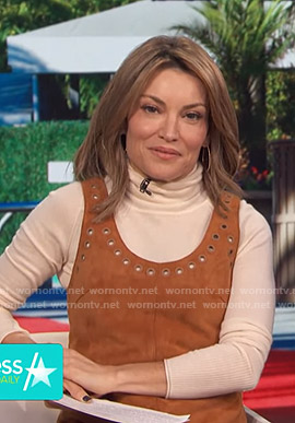 Kit's brown suede grommet dress on Access Hollywood