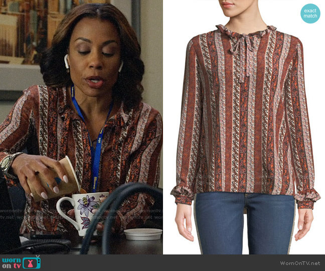 Kobi Halperin Elyse Blouse worn by Mia Jordan (Karen Pittman) on The Morning Show