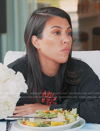 Kourtney's black Saint Pablo tee on Keeping Up with the Kardashians