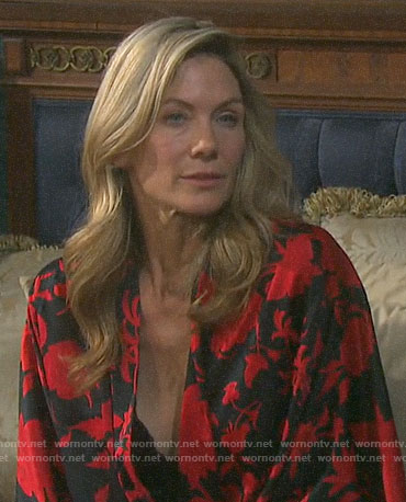 Kristen's black and red floral robe on Days of our Lives