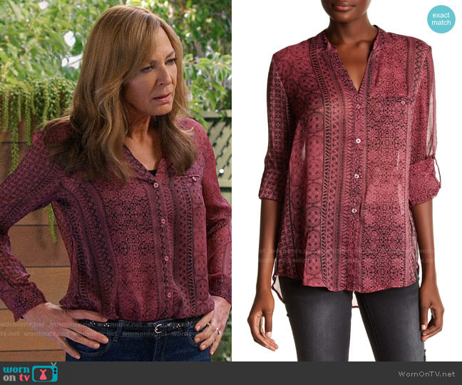 KUT From Kloth Jasmine Blouse worn by Bonnie Plunkett (Allison Janney) on Mom