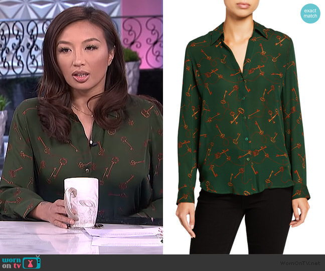 Nina Long-Sleeve Key-Print Blouse by L'Agence worn by Jeannie Mai  on The Real