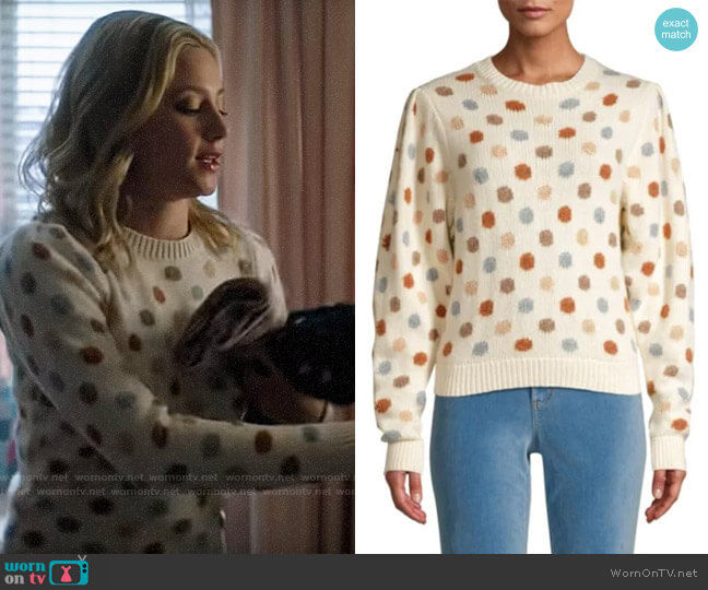 La Vie Rebecca Taylor Jacquard Dot Pullover worn by Betty Cooper (Lili Reinhart) on Riverdale