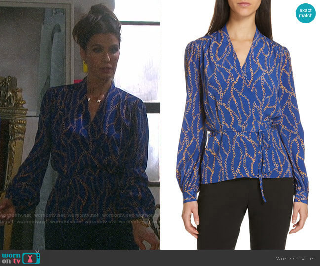 L'Agence Cara Chain Print Blouse worn by Hope Williams (Kristian Alfonso) on Days of our Lives