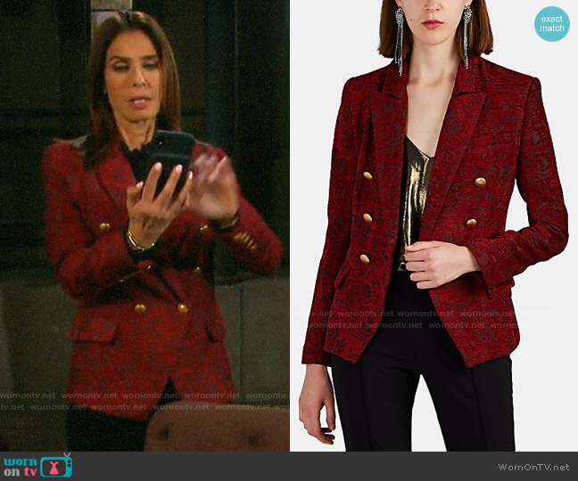 L'Agence Kenzie Floral Jacquard Blazer worn by Hope Williams (Kristian Alfonso) on Days of our Lives