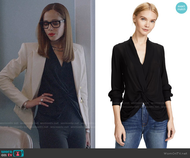 L'Agence Mariposa Blouse worn by Amanda Doherty (Victoria Cartagena) on Almost Family