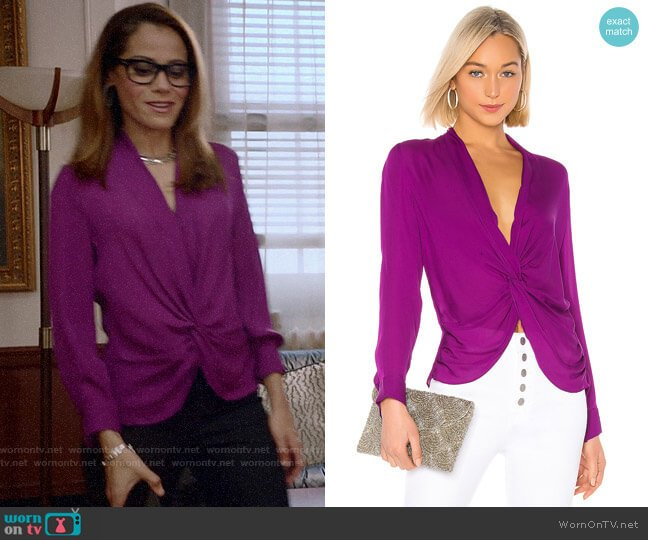 L'Agence Mariposa Blouse in Bright Plum worn by Amanda Doherty (Victoria Cartagena) on Almost Family