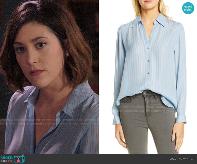 L'Agence Nina Blouse in Sky Blue Multi Stripe worn by Sydney Strait (Caitlin McGee) on Bluff City Law