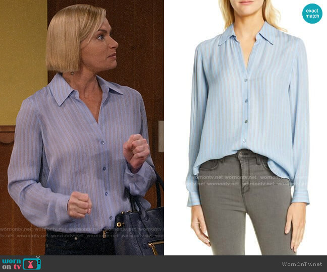 L'Agence Nina Blouse in Sky Blue Multi worn by Jill Kendall (Jaime Pressly) on Mom