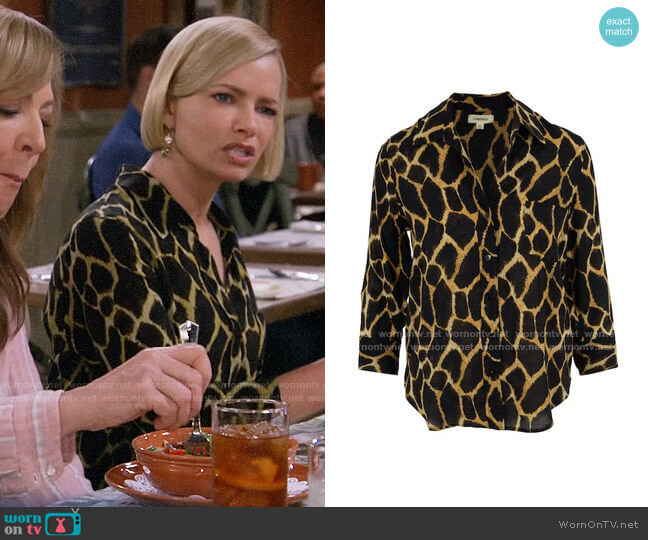 L'Agence Ryan Blouse in Sienna Safari worn by Jill Kendall (Jaime Pressly) on Mom