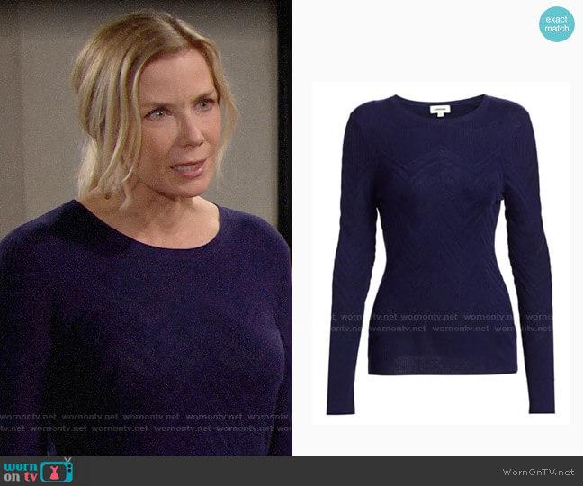 L'Agence Suka Chevron-Knit Sweater worn by Brooke Logan (Katherine Kelly Lang) on The Bold & the Beautiful
