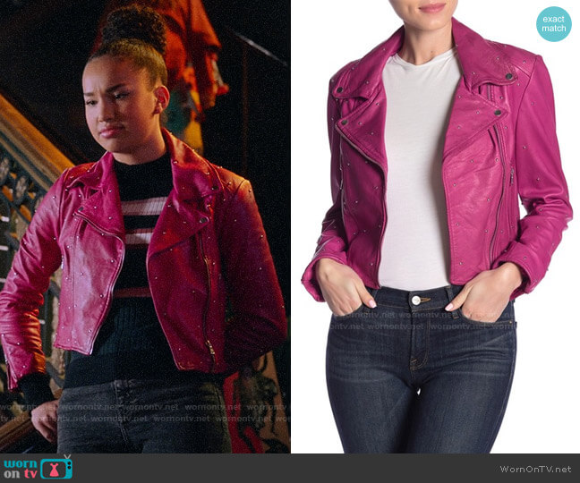LaMarque Studded Leather Moto Jacket worn by Gina (Sofia Wylie) on High School Musical The Musical The Series