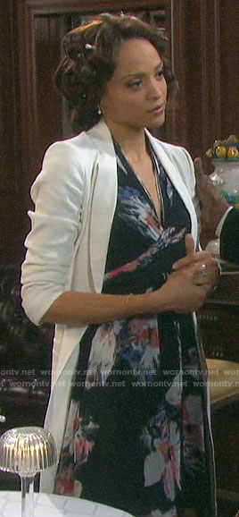 Lani's black floral zip front dress on Days of our Lives
