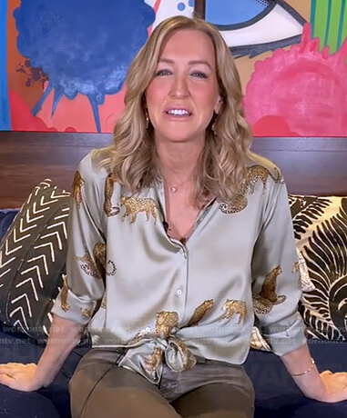 Lara's green cheetah print blouse on Good Morning America