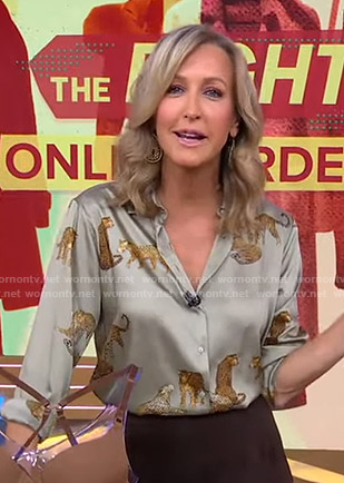 Lara's green cheetah print blouse on Good Morning America