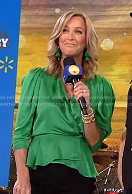 Lara's green satin wrap top on Good Morning America