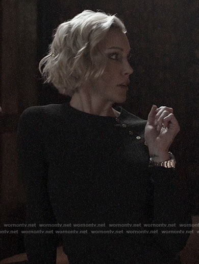 Laurel's black buttoned shoulder sweater on Arrow
