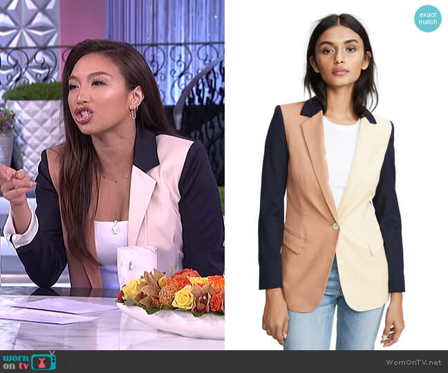 Colorblock Revelry Blazer by Laveer worn by Jeannie Mai  on The Real
