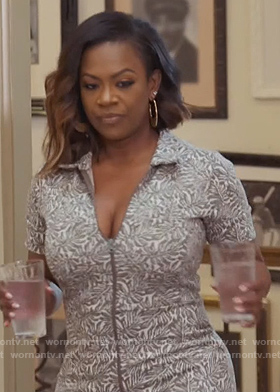 Kandi's leaf print jumpsuit on The Real Housewives of Atlanta