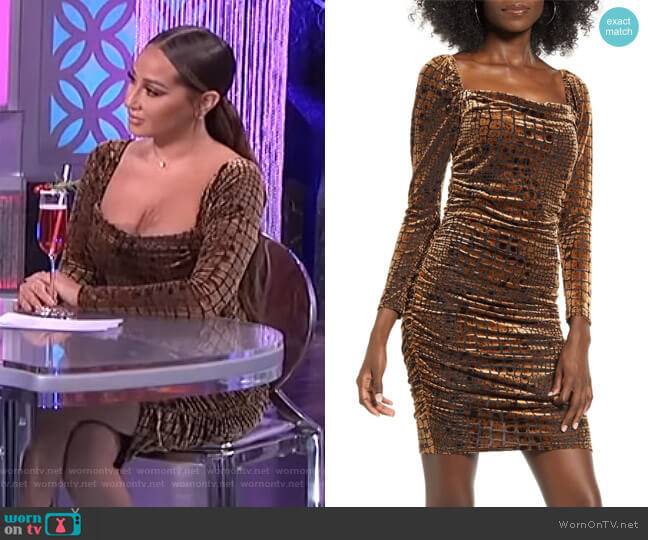 Ruched Velour Minidress by Leith worn by Adrienne Houghton  on The Real