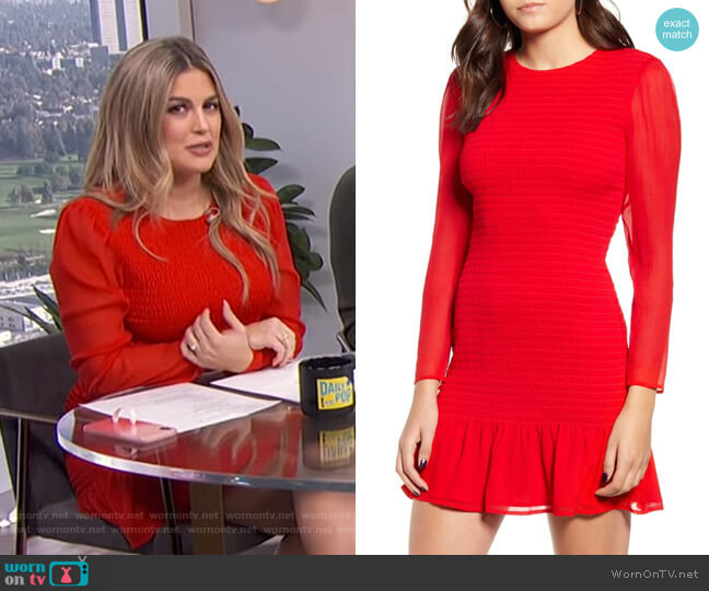 Smocked Chiffon Long Sleeve Minidress by Leith worn by Carissa Loethen Culiner  on E! News