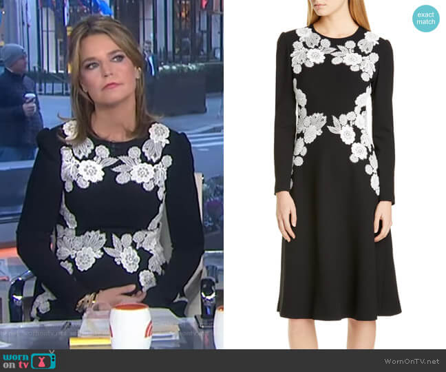 Lace Detail Long Sleeve Midi Dress by Lela Rose worn by Savannah Guthrie  on Today