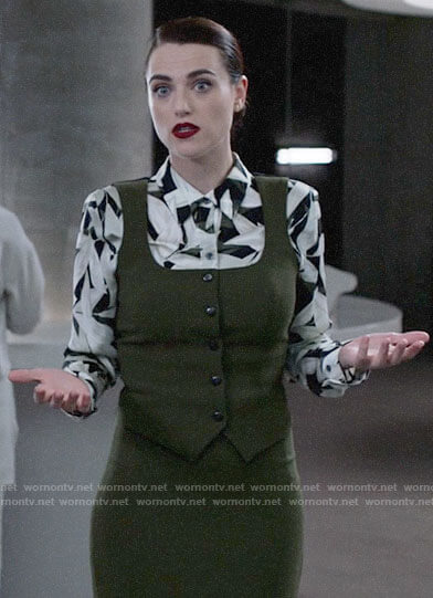 Lena's black and white leaf print blouse on Supergirl