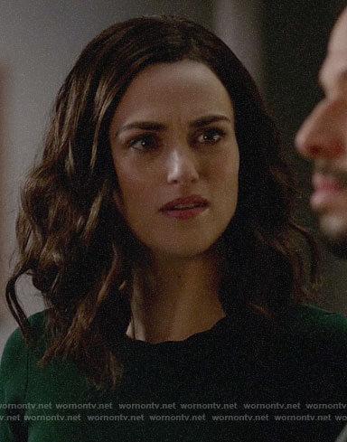 Lena's green one-shoulder dress on Supergirl