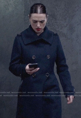 Lena's navy double-breasted coat on Supergirl