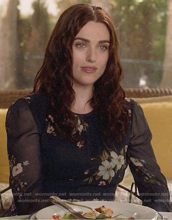 Lena's navy floral dress on Supergirl