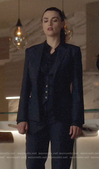 Lena's navy striped suit on Supergirl