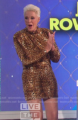 Brigitte Nielsen's leopard print mini dress on The Talk