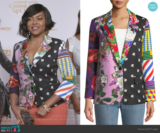 Mixed Print Long Blazer Jacket by Libertine  worn by Cookie Lyon (Taraji P. Henson) on Empire