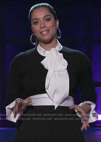 Lilly Singh's black and white tie neck top and trousers on A Little Late with Lilly Singh