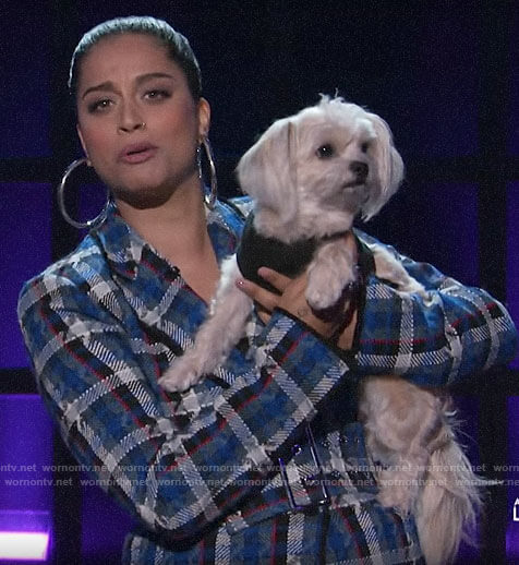 Lilly Singh's blue plaid tweed suit on A Little Late with Lilly Singh