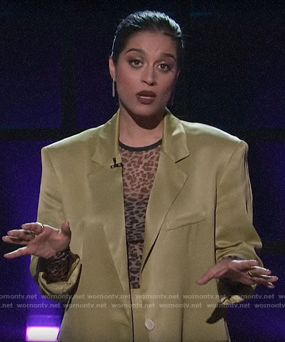 Lilly Singh's mesh leopard top and green satin suit on A Little Late with Lilly Singh