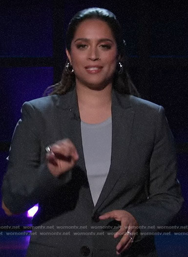 Lilly Singh's blazer with elbow cutouts on A Little Late with Lilly Singh