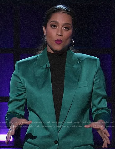 Lilly Singh's green satin blazer on A Little Late with Lilly Singh